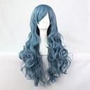 Χαμηλού Κόστους Πίνακες με Λουλούδια/Φυτά-Συνθετικές Περούκες Περούκες Στολών Σγουρά Σγουρά Περούκα Μπλε Συνθετικά μαλλιά Μπλε