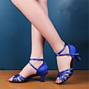 Χαμηλού Κόστους Παπούτσια χορού λάτιν-Γυναικεία Παπούτσια Χορού Σατέν Παπούτσια χορού λάτιν / Παπούτσια σάλσα Τακούνια Κοντόχοντρο Τακούνι Μη Εξατομικευμένο Μαύρο / Κόκκινο / Μπλε Ρουά / Δέρμα / EU42
