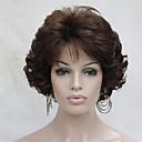 Χαμηλού Κόστους Συνθετικές περούκες χωρίς σκουφί-Συνθετικές Περούκες Σγουρά Κυματιστό Σγουρά Με αφέλειες Περούκα Κοντό Καστανοκόκκινο Συνθετικά μαλλιά Γυναικεία Στη μέση Καφέ