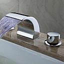 billiga Duschhuvuden-Moderna Hål med bredare avstånd Vattenfall LED Keramisk Ventil Två handtag tre hål Krom, Badrum Tvättställ Kran