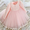 Χαμηλού Κόστους Φορέματα για κορίτσια-Νήπιο Κοριτσίστικα Δαντέλα Καθημερινά Μονόχρωμο Μακρυμάνικο Φόρεμα Λευκό / Βαμβάκι