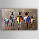 Χαμηλού Κόστους Αφηρημένοι Πίνακες-ζωγραφισμένο στο χέρι καμβά ζωγραφική πετρελαίου ζωγραφική πέντε πολύχρωμα ζέβρα σύγχρονη τέχνη τεντωμένο έτοιμο να κρεμάσει