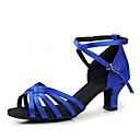 Χαμηλού Κόστους Περούκες από Ανθρώπινη Τρίχα-Γυναικεία Παπούτσια Χορού Σατέν Παπούτσια χορού λάτιν / Παπούτσια σάλσα Τακούνια Κοντόχοντρο Τακούνι Μη Εξατομικευμένο Μαύρο / Κόκκινο / Μπλε Ρουά / Δέρμα / EU42