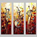 זול ציורי נוף-ציור שמן צבוע-Hang מצויר ביד - מופשט קלסי מסורתי ציור בלבד / שלושה פנלים