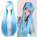 billiga Kostymperuk-Syntetiska peruker Kostymperuker Rak Rak Peruk Lång Väldigt länge Ljusblå Syntetiskt hår Dam Blå