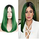 billiga Tvättställsblandare-Syntetiska peruker Rak Rak Peruk Lång Väldigt länge Grön Syntetiskt hår Grön