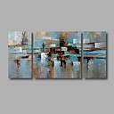 billiga Abstrakta målningar-Hang målad oljemålning HANDMÅLAD - Abstrakt Moderna Inkludera innerram / Tre paneler / Sträckt kanfas