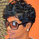 Χαμηλού Κόστους Περούκες από Ανθρώπινη Τρίχα-Συνθετικές Περούκες Κυματιστό Κυματιστό Περούκα Μαύρο Συνθετικά μαλλιά Γυναικεία Μαύρο