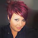 Χαμηλού Κόστους Συνθετικές περούκες χωρίς σκουφί-Ανθρώπινη Τρίχα Περούκα Κοντό Ίσιο Κούρεμα νεράιδας Σύντομα Hairstyles 2019 Με αφέλειες Ίσια Πλευρικό μέρος Γυναικεία Μεσαία Auburn Κατάμαυρο Μπορντώ 8 Ίντσες