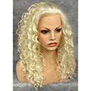 billige Hairextension med naturlig farge-Syntetiske parykker Krøllet Krøllet Blonde Forside Parykk Blond Blond Grå Syntetisk hår Dame Naturlig hårlinje Blond Grå