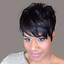 billiga Syntetiska peruker utan hätta-Mänskligt hår Peruk Naturligt vågigt Korta frisyrer 2019 Berry Naturligt vågigt Svart