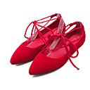 olcso Női alacsony cipők-Női Lapos Lapos Erősített lábujj Fűző Gyapjú Kényelmes / Boka pántos Gyalogló Tavasz / Nyár Fekete / Piros / Kék