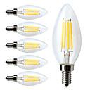 ราคาถูก หลอดไฟ-6 ชิ้น หลอดไฟLED Filament 380 lm E12 C35 4 ลูกปัด LED COB หรี่แสงได้ ขาวนวล 110-130 V / RoHs