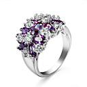 ราคาถูก แหวน-สำหรับผู้หญิง คำชี้แจง Ring Cubic Zirconia สีม่วง แดง ฟ้า เพทาย Cubic Zirconia Geometric Shape สุภาพสตรี ความรัก เกี่ยวกับยุโรป งานแต่งงาน ปาร์ตี้ เครื่องประดับ