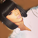 Χαμηλού Κόστους Χωρίς κάλυμμα-Ανθρώπινη Τρίχα Περούκα Μεσαίο Φυσικό Κυματιστό Κούρεμα καρέ Σύντομα Hairstyles 2019 Ίσια Μαύρο Μοντέρνα Γυναικεία Μαύρο 12 Ίντσες