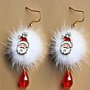 olcso Karácsonyi dekoráció-Az európai és amerikai divat mikulás szilva fakó fehér pompon vörös kristály karácsonyi fülbevaló tartozékok