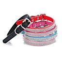 billiga Kragar, selar och koppel-Katt Hund Halsband Justerbara / Infällbar Bergkristall Enfärgad PU läder Röd Blå Rosa