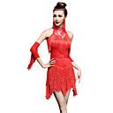 זול הלבשה לריקודים לטיניים-ריקוד לטיני שמלות / מכנסיים קצרים בגדי ריקוד נשים הצגה ניילון / Chinlon פרנזים / קריסטלים / אבנים נוצצות ללא שרוולים גבוה שמלה / כפפות