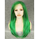 Χαμηλού Κόστους Ιδιαίτερες συνθετικές περούκες με δαντέλα-Συνθετικές μπροστινές περούκες δαντέλας Ίσιο Ίσια Δαντέλα Μπροστά Περούκα Πράσινο Συνθετικά μαλλιά Γυναικεία Πράσινο