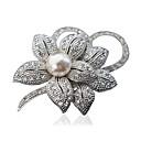 billiga Modebroscher-Dam Broscher Blomma damer Mode Brosch Smycken Silver Brun Till Party Dagligen Casual
