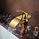 povoljno Slavine za umivaonik-Kupaonica Sudoper pipa - Waterfall Ti-PVD Središnje pozicionirane Jedan Ručka jedna rupaBath Taps / Brass