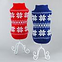 billiga Hundkläder-Katt Hund Tröjor Jul Vinter Hundkläder Röd Blå Kostym Cotton Snöflinga Klassisk Jul Nyår XS S M L XL XXL