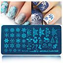 billiga Jul Nail Art-1pcs Stämpelplatta Mall nagel konst manikyr Pedikyr Mode Dagligen / stämpling Plate / Stål
