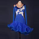 povoljno Egzotična plesna odjeća-Latino ples Haljine Žene Seksi blagdanski kostimi Spandex / Organza S volanima / Cvijet / Isprepleteni dijelovi Dugih rukava Visok Haljina