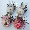 baratos Bouquets de Noiva-Bouquets de Noiva Rosas Alfinetes de Lapela Casamento Festa / noite Cetim Tule Pele