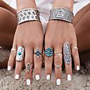 ราคาถูก แหวน-สำหรับผู้หญิง แหวน Turquoise สีเงิน เทอร์ควอยส์ โลหะผสม Geometric Shape สุภาพสตรี ส่วนบุคคล ไม่ปกติ ปาร์ตี้ ทุกวัน เครื่องประดับ ทางเรขาคณิต Flower