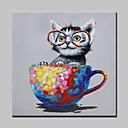 billiga Djurporträttmålningar-Hang målad oljemålning HANDMÅLAD - Djur Popkonst Moderna Inkludera innerram / Sträckt kanfas
