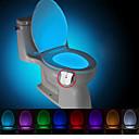 billige Innendørs Natt Lys-brelong 1 stk. oppgradering vanntett 8-fargers kroppsbevegelsessensor pir toalett nattlys