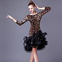 ราคาถูก ชุดเต้นรำลาติน-ชุดเต้นละติน ชุดเดรสต่างๆ สำหรับผู้หญิง Performance Crystal Cotton / ออแกนซ่า จับย่น / Splicing แขนยาว 3/4 สูง ชุดเดรส