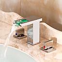 billiga Köksblandare-Badrum Tvättställ Kran - Vattenfall / LED Krom Hål med bredare avstånd Två handtag tre hålBath Taps