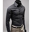 billige Oxfordsko til herrer-Tynn Skjorte Herre - Ensfarget Forretning / Gatemote Arbeid Gul / Langermet