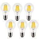 ราคาถูก เครื่องดนตรีของเล่น-KWB 6 ชิ้น 7 W หลอดไฟLED Filament 760 lm E26 / E27 A60(A19) 8 ลูกปัด LED COB ตกแต่ง ขาวนวล ขาวเย็น 220-240 V / RoHs