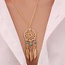 cheap Necklaces-Women's Turquoise Pendant Necklace Long Necklace Leaf Wings Feather Dream Catcher Cheap Statement Ladies Tassel Vintage Gold Plated Turquoise Alloy Golden Necklace Jewelry For Christmas Gifts Daily