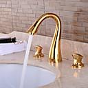 billiga Tvättställsblandare-Badrum Tvättställ Kran - Förskölj / Vattenfall / Utbredd Ti-PVD Centerset Två handtag tre hålBath Taps
