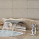 Χαμηλού Κόστους Βάζα & Καλάθι-Art Deco / Ρετρό Αναμεικτικές με ξεχωριστές βαλβίδες Καταρράκτης Κεραμική Βαλβίδα Δύο λαβές τρεις οπές Χρώμιο, Μπάνιο βρύση νεροχύτη