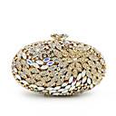 billige Clutch- og aftenvesker-Dame Krystall / Rhinstein / Blomst Metall Aftenveske Rhinestone Crystal Evening Bags Blomstermønster Gylden / Lilla-rosa
