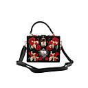 ราคาถูก Clearance-สำหรับผู้หญิง กระเป๋าต่างๆ PU / Metal กระเป๋าราตรี คริสตัล / พลอยเทียม / ดอกไม้ งานศิลปะ สีดำ