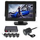 Χαμηλού Κόστους Κάμερα Οπισθοπορείας Αυτοκινήτου-renepai® 4,3 ιντσών 4 ανιχνευτή αυτοκίνητο βίντεο κάμερα της οθόνης LCD αισθητήρων στάθμευσης αντίστροφη αντιγράφων ασφαλείας 12v ραντάρ