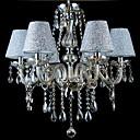 billige Lyktedesign-6-Light Candle-stil Lysekroner Opplys galvanisert Glass Stof Krystall 110-120V / 220-240V Pære ikke Inkludert / E12 / E14