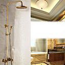 billiga Handduksstänger-Duschkran - Antik Antik mässing Väggmonterad Keramisk Ventil Bath Shower Mixer Taps / Mässing / Enda handtag Två hål
