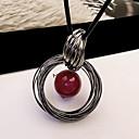 billiga Modeörhängen-Dam Hänge Halsband Lång damer Europeisk Mode Pärla Legering Röd Halsband Smycken Till Dagligen Casual