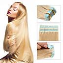 baratos Extensões de Cabelo com Cola-Febay Com Adesivo Extensões de cabelo humano Liso Cabelo Virgem Cabelo Brasileiro Loiro Platina
