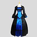 billiga Köksblandare-Gothic Lolita Klänningar Outfits Dam Flickor Siden Japanska Cosplay-kostymer Blå Jacquard Långärmad Asymmetrisk / Frack