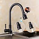 Χαμηλού Κόστους Κεφαλές Ντουζ-Βρύση Κουζίνας - Ενιαία Χειριστείτε μια τρύπα Λαδωμένο Μπρούντζινο Pull-out / Pull-down Αναμεικτικές με ενιαίες βαλβίδες Πεπαλαιωμένο Kitchen Taps / Ορείχαλκος