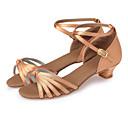 זול הלבשה לריקודי בלט-נעלי ריקוד משי נעליים לטיניות עניבת פרפר עקבים עקב עבה מותאם אישית שחור / חום כהה / עירום / בבית / עור / EU39