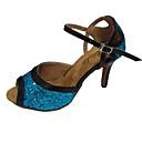 povoljno Cipele za latino plesove-Žene Plesne cipele Svjetlucave šljokice / Koža Cipele za latino plesove / Cipele za salsu Sandale Potpetica po mjeri Moguće personalizirati Crvena / Srebrna / Zlatna / Unutrašnji / Vježbanje / EU39